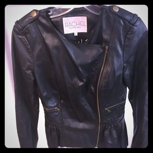 Rachel Rachel Roy Leather Peplum Moto Black Jkt Sm